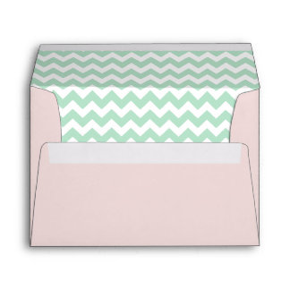 Blush Pink Envelope With Mint Green Chevron Print
