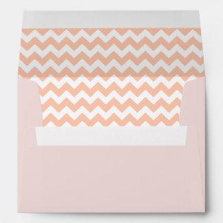 Blush Pink Envelope With Peach Chevron Print