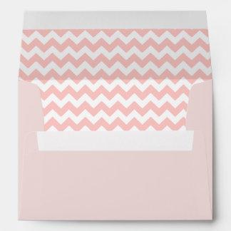 Blush Pink Envelope With Petal Pink Chevron Print
