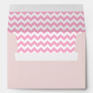Blush Pink Envelope With Pink Chevron Print