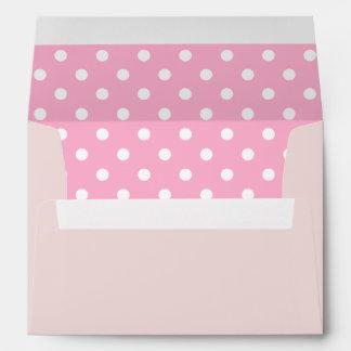 Blush Pink Envelope With Pink Polka Dot Print