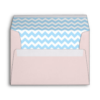 Blush Pink Envelope With Sky Blue Chevron Print