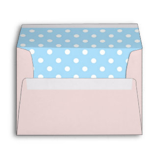 Blush Pink Envelope With Sky Blue Polka Dot Print