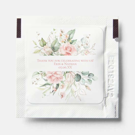Blush Pink & Eucalyptus Leaves Wedding Thank You Hand Sanitizer Packet