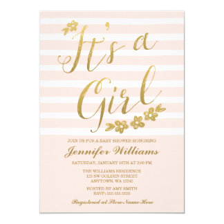 Blush Pink Faux Gold Flowers Girl Baby Shower Card
