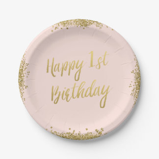 Blush Pink Faux Gold Glitter First Birthday Paper Plate
