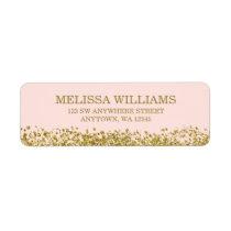 Blush Pink Faux Gold Glitter Label