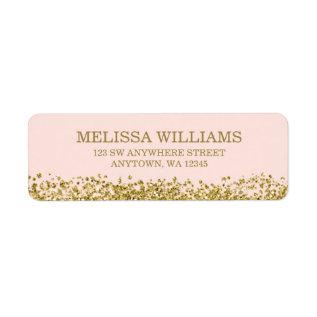 Blush Pink Faux Gold Glitter Label at Zazzle