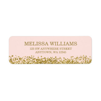 Blush Pink Faux Gold Glitter Label