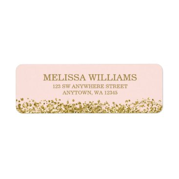 printcreekstudio Blush Pink Faux Gold Glitter Label