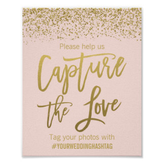 Blush Pink Faux Gold Glitter Wedding Hashtag Sign Poster