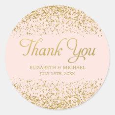 Blush Pink Faux Gold Glitter Wedding Thank You Classic Round Sticker at Zazzle