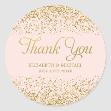 printcreekstudio Blush Pink Faux Gold Glitter Wedding Thank You Classic Round Sticker