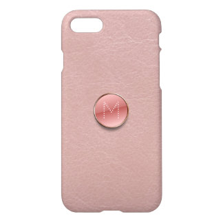 Blush Pink Faux Leather Glass Button Monogram iPhone 7 Case
