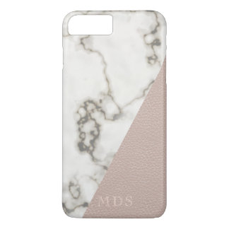 Blush Pink Faux Leather Modern Marble Monogram iPhone 7 Plus Case