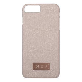 Blush Pink Faux Leather Rose Gold 3D Monogram iPhone 7 Plus Case