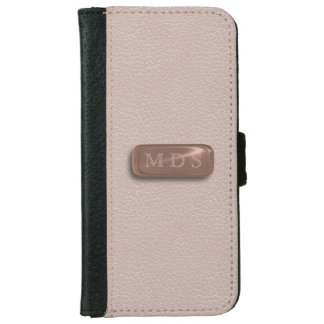 Blush Pink Faux Leather Rose Gold Nameplate iPhone 6/6s Wallet Case