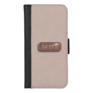 Blush Pink Faux Leather Rose Gold Nameplate iPhone 8/7 Wallet Case