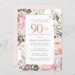 """Blush Pink Floral 90th Birthday Party Invitation<br><div class=""""desc"""">Honor a special woman with this elegant and feminine 90th Birthday party invitation. 90th is written in large pink text. Birthday celebration follows. The honored guest's name is also in pink capital letters. The remainder of the text is soft dove grey. The birthday celebration details are surrounded by a chic...</div>"""