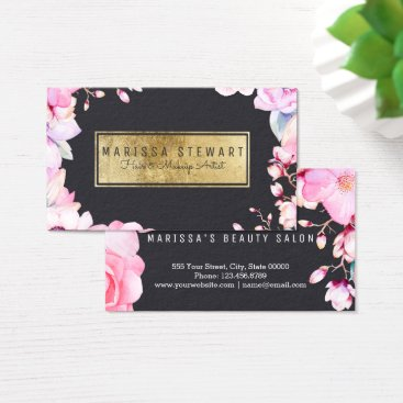 Professional Business Blush Pink Floral and Black Gold Business Card