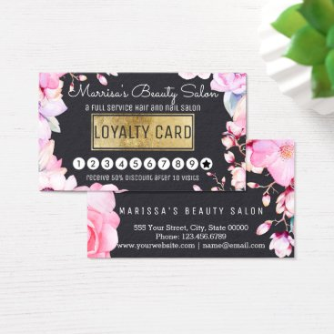Professional Business Blush Pink Floral and Black Loyalty Discount Punch Business Card