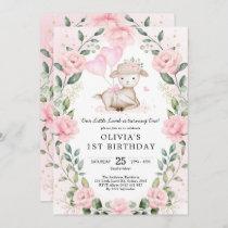 Blush Pink Floral Baby Sheep Lamb Girl Birthday Invitation