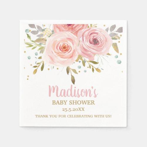 Blush Pink Floral Baby Shower Birthday Napkins