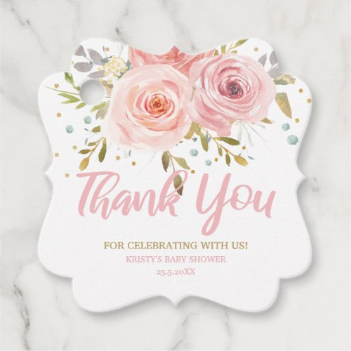 Blush Pink Floral Baby Shower Birthday Thank You Favor Tags
