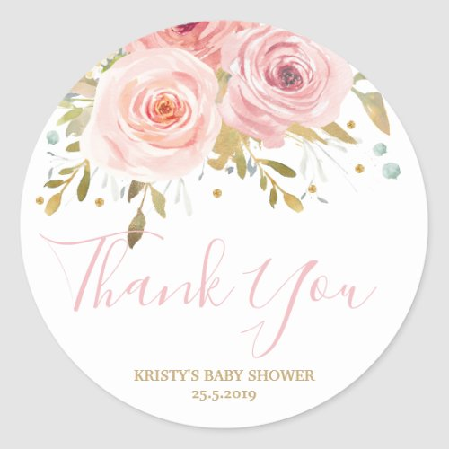 Blush Pink Floral Baby Shower Girl Favour Classic Round Sticker