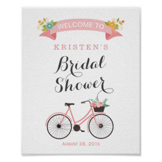 Blush Pink Floral Bicycle Bridal Shower Sign