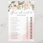 """Blush Pink Floral Boho Guess Who Said It Game<br><div class=""""desc"""">He Said Shw Said Bridal Shower Game with bohemian blooming soft pink florals and gold glitter sparkles</div>"""