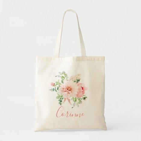 Blush Pink Floral Bouquet Bridesmaid Tote Bag