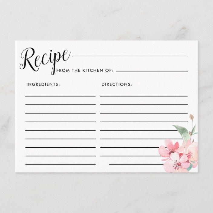 Printable Flower Bridal Shower Recipe Card and Invitation Insert Pink Floral Bridal Shower Recipe Cards Pink and Gold Recipe Cards 0004