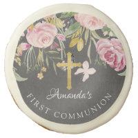 Blush Pink Floral Cross First Holy Communion Sugar Cookie