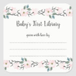 """Blush Pink Floral girl baby shower bookplate<br><div class=""""desc"""">Ask your guests to &quot;bring a book instead of a card&quot; then have this sticker ready at the baby shower for guests to complete. Present the mother-to-be with a basket (or bathtub or carriage or bassinet, etc.) filled with &quot;Baby&#39;s First Library!&quot; Such a cute and meaningful addition to the traditional...</div>"""