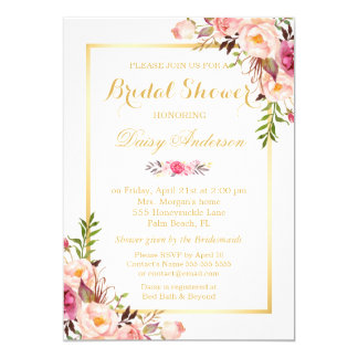 Blush Pink Floral Gold Frame Bridal Shower Invitation