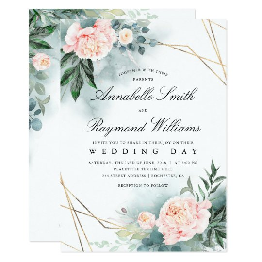 Blush Pink Floral Gold Frame | Peony Wedding Invitation ...