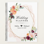 "Blush Pink Floral Gold Geometric Frame Wedding Planner<br><div class=""desc"">Blush Pink Floral Gold Geometric Frame Wedding Planner.</div>"