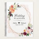 "Blush Pink Floral Gold Geometric Frame Wedding Planner<br><div class=""desc"">Blush Pink Floral Gold Geometric Frame Wedding Planner.</div>"
