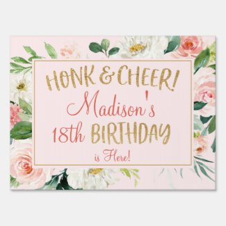 Blush Pink Floral Gold Glitter Birthday Car Parade Sign