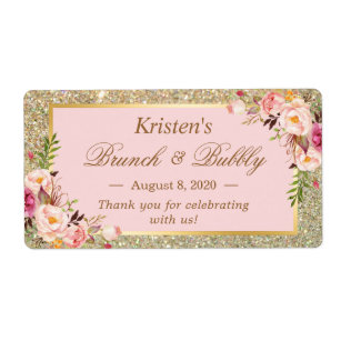 Blush Pink Floral Gold Glitter Brunch & Bubbly Label