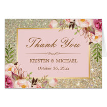 Blush Pink Floral Gold Glitter Sparkles Thank You Card