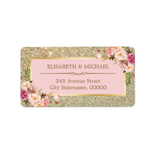 Blush Pink Floral Gold Glitter Sparkling Wedding Label