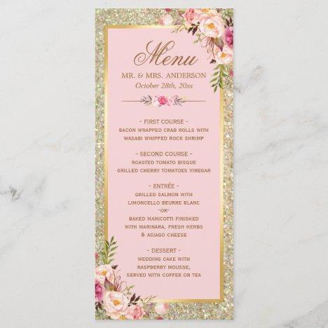 Blush Pink Floral Gold Glitter Wedding Menu