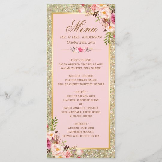 Blush Pink Floral Gold Glitter Wedding Menu Zazzle