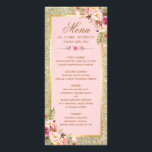 """Blush Pink Floral Gold Glitter Wedding Menu<br><div class=""""desc"""">================= ABOUT THIS DESIGN ================= Blush Pink Floral Gold Glitter Wedding Menu Card. (1) For further customization, please click the &quot;Customize&quot; button and use our design tool to modify this template. All text style, colors, sizes can be modified to fit your needs. (2) If you need help or matching items,...</div>"""