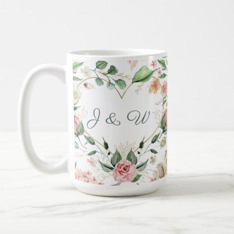 Blush Pink Floral Gold Heart Monogram Wedding Coffee Mug