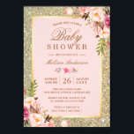 """Blush Pink Floral Gold Sparkles Baby Shower Card<br><div class=""""desc"""">================= ABOUT THIS DESIGN ================= Wedding Blush Pink Floral Gold Sparkles Baby Shower Invitation. (1) For further customization, please click the &quot;Customize&quot; button and use our design tool to modify this template. All text style, colors, sizes can be modified to fit your needs. (2) If you prefer thicker papers, you...</div>"""