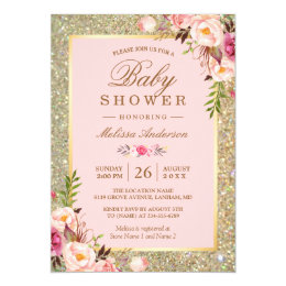 Baby girl shower invitations zazzle blush pink floral gold sparkles baby shower card stopboris Image collections