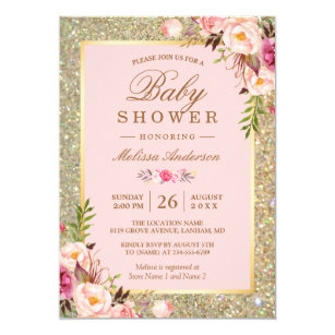 Pink and gold invitations announcements zazzle blush pink floral gold sparkles baby shower card filmwisefo
